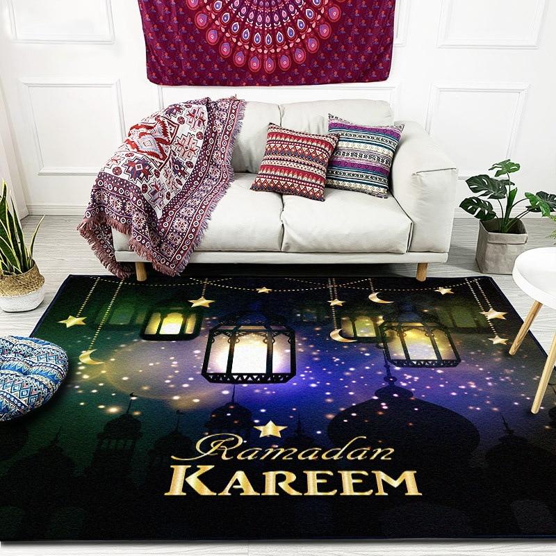 Image 2 - RAMADAN KAREEM Muslim Carpet for Living Room Islam Prayer Rugs  Non Slip Moon Lighthouse Church Mat Chair Cushion 3D CarpetsCarpet   -