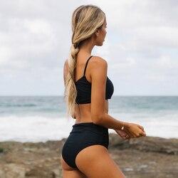 Kobiety stałe Bikini Sexy strój kąpielowy na jedno ramię czarne Bikini Set stroje kąpielowe lato zakrętka tubki strój kąpielowy Femlae kostiumy kąpielowe Biquini 2