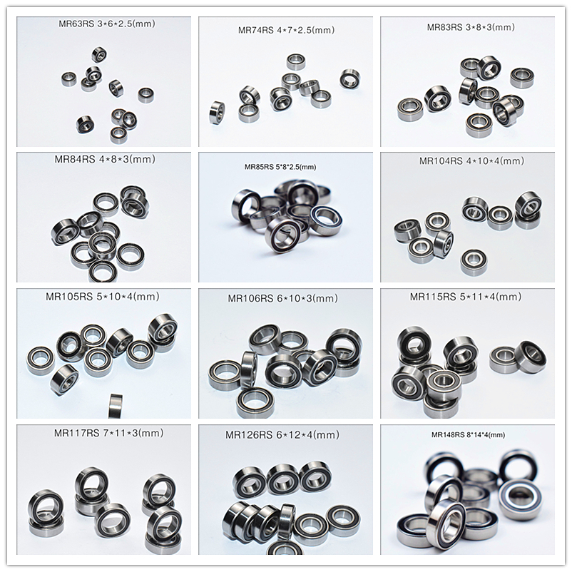 Rubber Seal Multiple sizes Miniature bearing 10piece free shipping MIX MR63 MR74 MR85 MR95 105 106 115 117 126 128 137 148Bearings   -