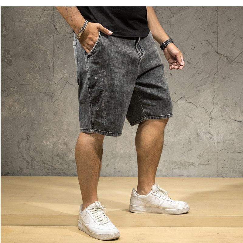 Men's Denim Shorts Summer Hot Plus Size 6xl 7XL Casual Loose Stretch Cowboy High Waist Short Jean Male Large Size Denim Breeches
