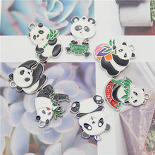 Julie Wang 4/7PCS Enamel Cute Panda Charms Alloy Mixed Styles White K Color Tone Pendants Bracelet Jewelry Making Accessory