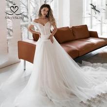 Off Shoulder Kralen Trouwjurk Swanskirt NR09 Romantische Tulle A lijn Hof Trein Prinses Bruid Gown Vestido De Noiva