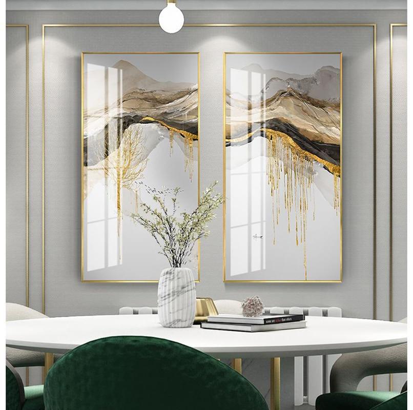 Креативный пейзаж в китайском стиле, золотое дерево, солнце, Современная декоративная картина, холст, настенный постер для комнаты, крыльца, офиса, Декор