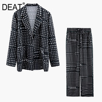 DEAT 2020 Autumn New Fashion Plaided Polka Dots Printed Single breasted Blazer And Straight Pants Set WI18901L