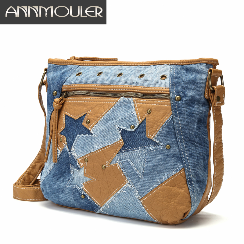 Fashion Women Bags Luxury Handbag Designer Jeans Shoulder Bag Star Patchwork Jeans Bag Soft Washed Leather Crossbody Bag Purse