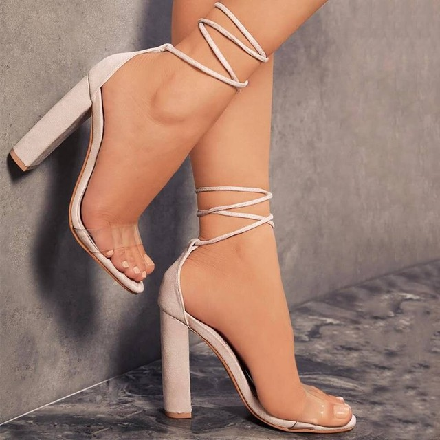 Ankle Strap Transparent Sandals High Heels