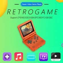 V90 3 polegadas ips tela retro flip handheld console 16 simuladores 3000 jogos multifuncional retro nostálgico clássico console de jogo
