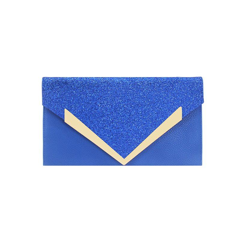 Для женщин блеск вечерний клатч женская Свадебная вечеринка Сумки из натуральной кожи для выпускного вечера, с цепочкой кошелек C90E - Цвет: Синий
