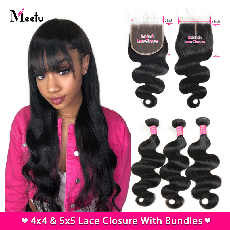 Meetu Hair 5x5 4x4 Closure With Bundles Malaysian Body Wave Bundles With Closure 100% Human Hair 3 Bundles With Closure Non-Remy