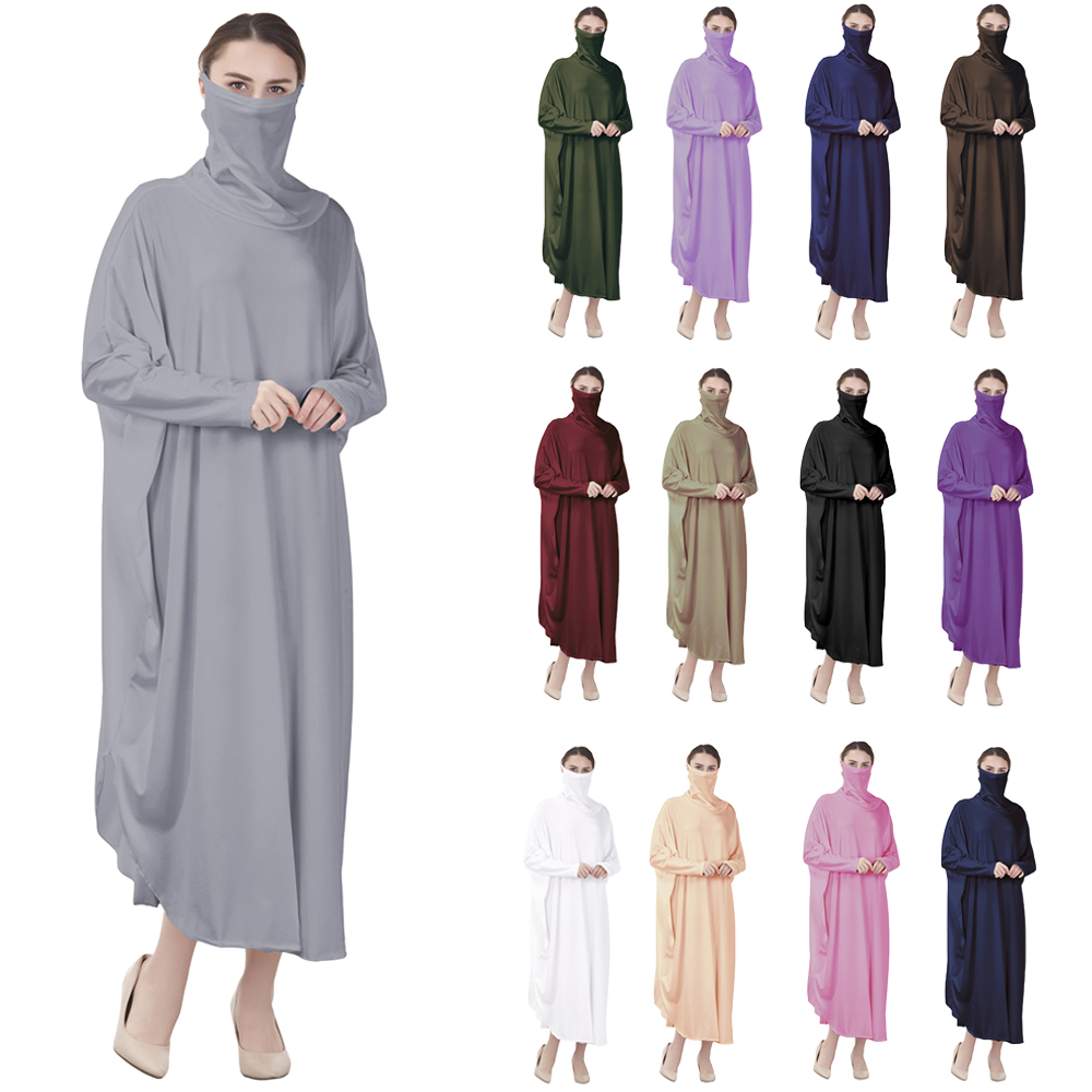 Ramadan Hijab Abaya Muslim Women Full Cover Veil Jilbab Islam Burqa Maxi Prayer Dress Robe Kaftan Arab Khimar Niqab Middle East