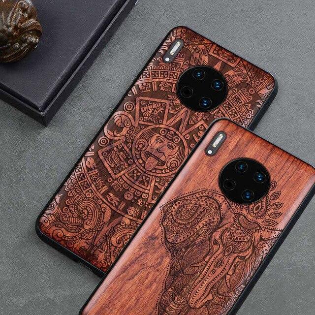 2019 新華為メイト 30 プロケーススリム木製バックカバー TPU バンパーケースに Huawei 社 Mate30 メイト 30 プロ電話ケース