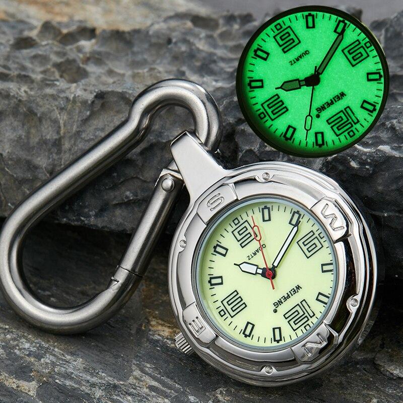 Luxury Silver Clip-On Carabiner Pocket Watch Men Women Fashion Luminous Dials Outdoor Sport Climbing Watches Reloj De Bolsillo