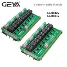 цена на GEYA 8 Channel Relay Module DC 24V 12V Intermediate Power Relay Control Switch