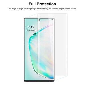 Image 3 - Szkło UV z odciskiem palca odblokuj dla Samsung Galaxy Note 10 Plus ochraniacz ekranu szkło hartowane dla Note 10 Plus zakrzywiona pokrywa