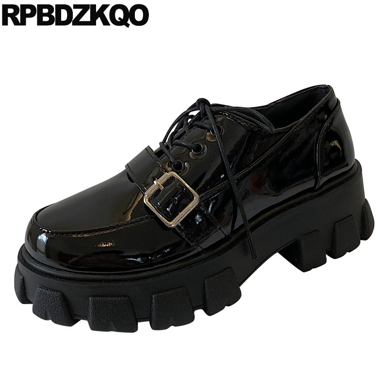 patent leather black designer women china cheap shallow elevator lace up creepers platform shoes muffin round toe thick sole
