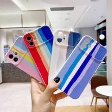 Quadro de proteção cor escudo para iphone 11 12 x pro max caso 8 7 plus xr xs fino macio arco-íris capa traseira