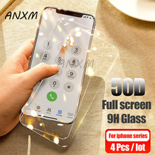 4Pcs 50D Tempered Glass For iphone X XR XS MAX 5S Screen Protector Full Cover Glass For iphone 6 6s 7 8 Plus 5 4 Protective Film