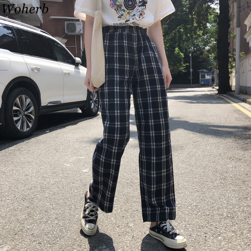 Woherb Korean Streetwear Fashion Plaid Ankle Pant Summer Thin Elastic Wasit Trousers Student Ulzzang Casual Japanese Bottom
