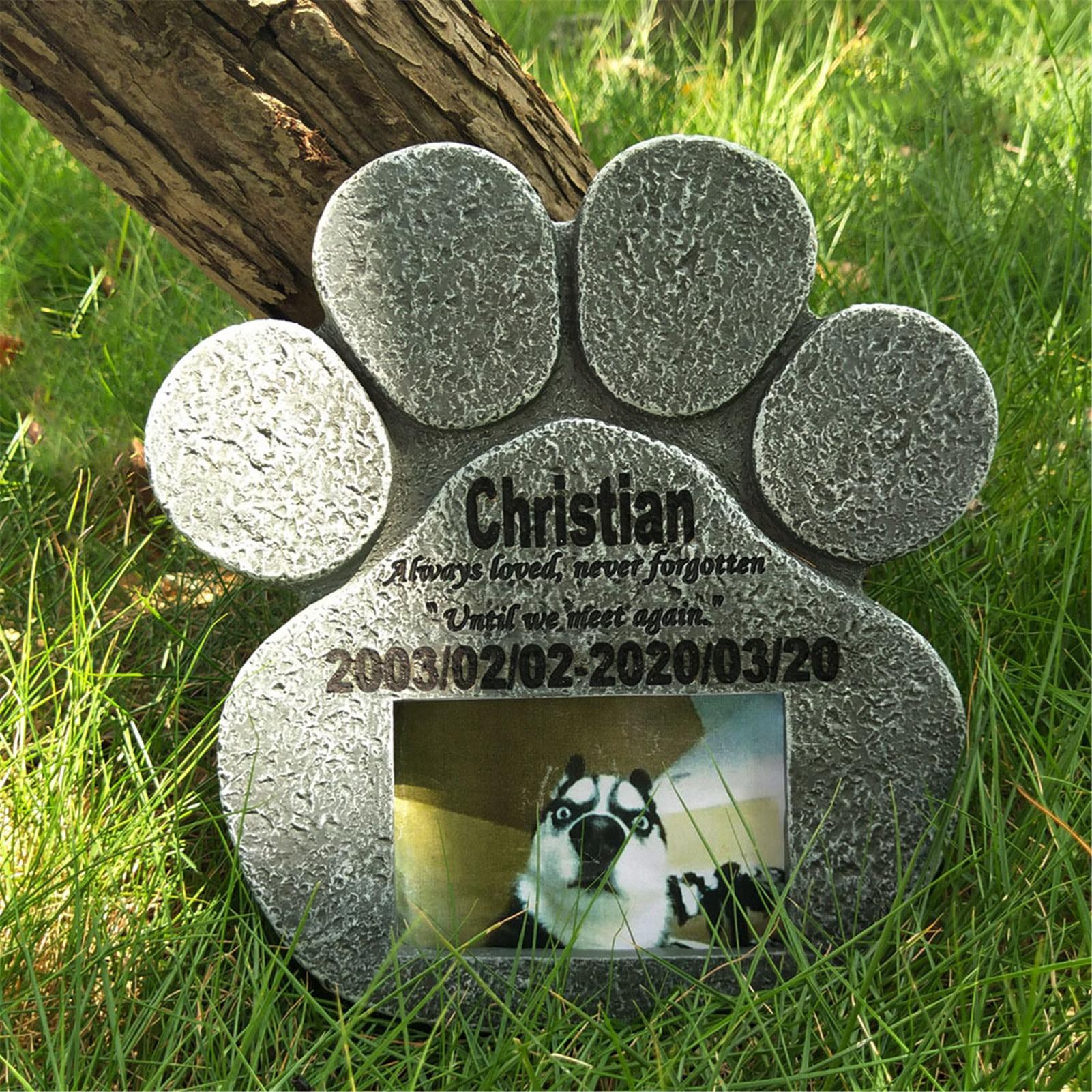 Home Garden Pet Tombstone Dog Cat Memorial Stone Outdoor Waterproof Resin Crafts Landscaping Yard Sculpture Decoration 2021 New
