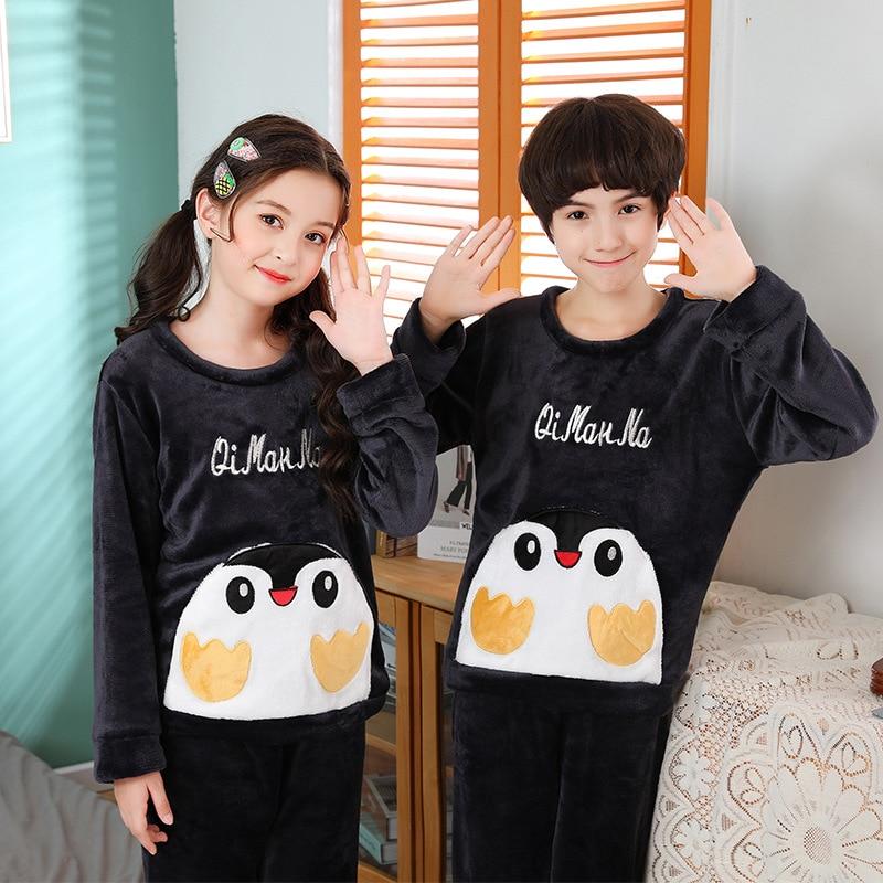 Winter Children Warm Casual Nightwear Sleepwear Boys Girls Pijama Flannel Full-sleeve Pajamas Set Homewear Pyjamas Kids Clothes