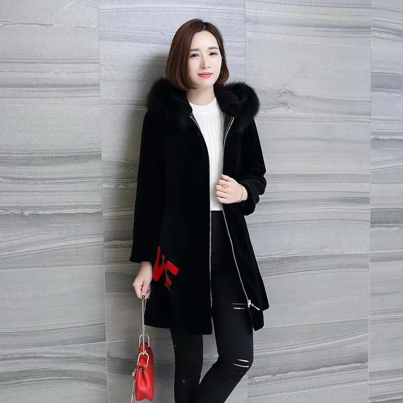 Tilki kürk yaka gerçek kürk ceket kadın yün ceket sonbahar kış ceket kadın kıyafetleri 2020 kore Vintage koyun Shearling üstleri T4831