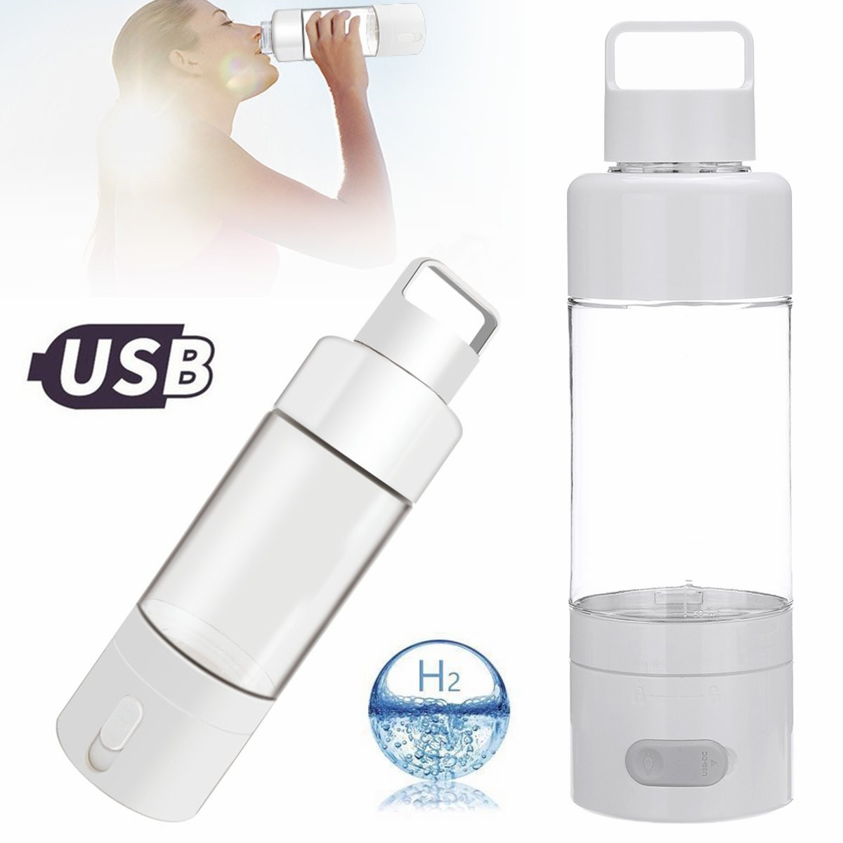 Titanium Quality Hydrogen Rich Water Cup Ionizer Maker/Generator Super Antioxidants ORP Hydrogen Bottle USB Charging 500ml