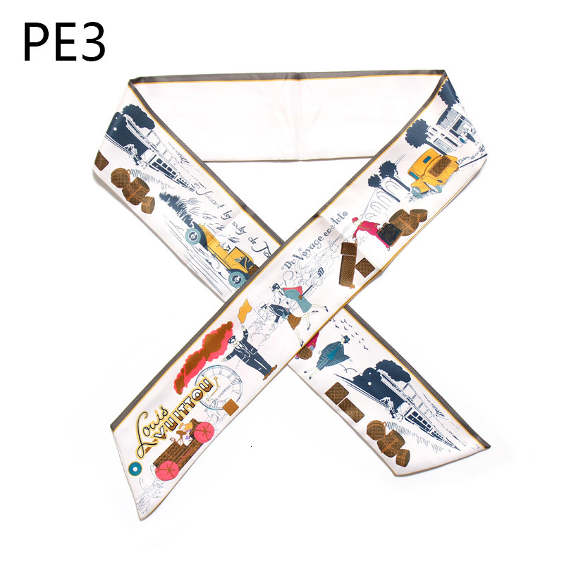 TRAIN Story Bag Handle Silk Scarf Slender Narrow Small Long Ribbon Decoration Scarf Package Bring Woman Neckerchief Head Scarves
