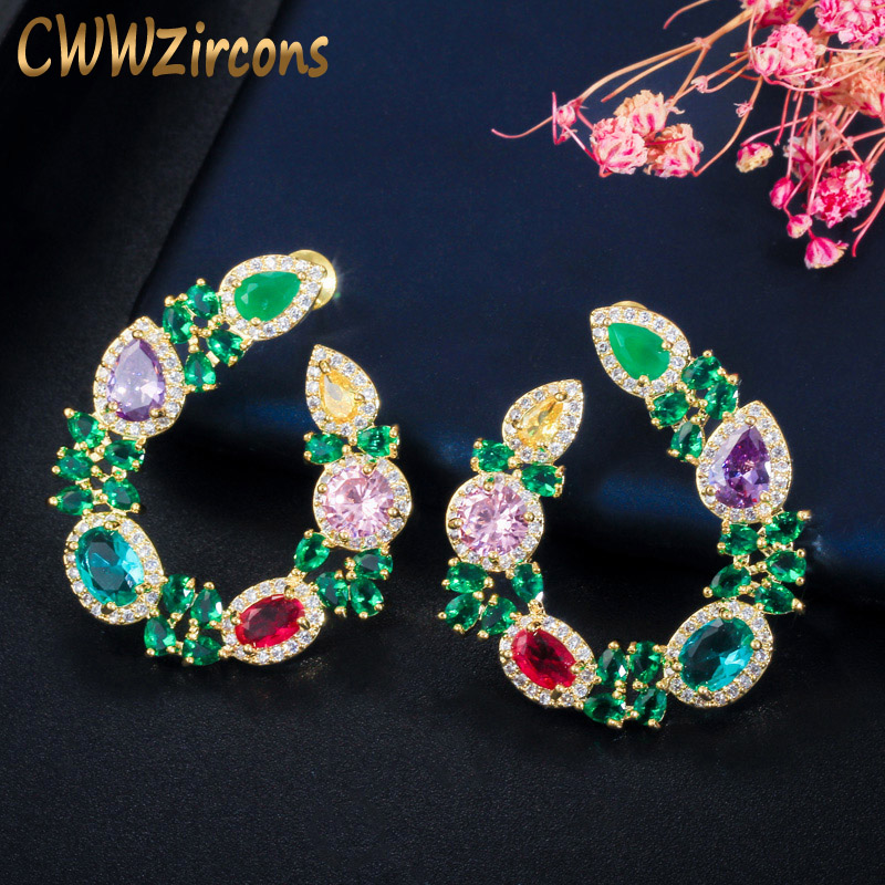 CWWZircons Unique Flower Leaf Design Elegant Yellow Gold Plated Big Round Green Emerald Earrings For Women Jewelry Gift CZ604