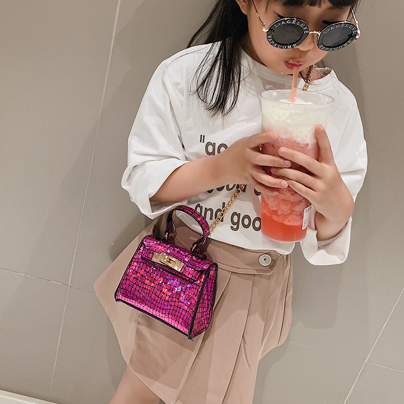 New Style Korean-style CHILDREN'S Bag Girls Crossbody Bag Fashion Crocodile Pattern Princess Kelly Bag Chain Accessories Bag