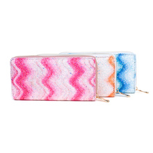 KANDRA New Glitter Wave Stripe Women Wallet PU Leather Long Wallet Credit Cards Holder Boutique Bag Christmas Gifts Wholesale