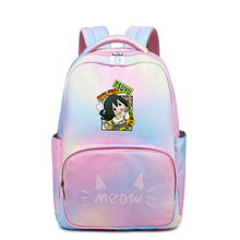 Anime My Hero Academia Midoriya Izuku Bookbag Rainbow Cat School Bags Kawaii Women Backpack Girls Laptop Bagpack Men Travel Bags(China)