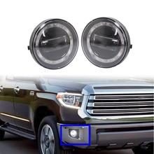 Çift yuvarlak LED sis Passing işıklar sürüş lambaları için DRL ile Tacoma 2005 2006 2007 2008 2009 2010 2011 Tundra 2007 2013