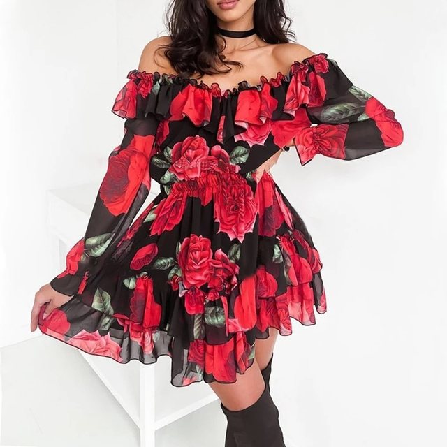 Women Off Shoulder Ruffles Flower Print Dress 2021 Spring Long Sleeve Elegant Party Dress Female Chiffon Beach Holiday Vestidos 1