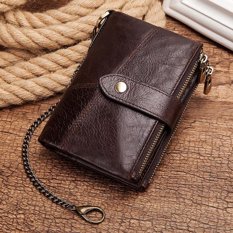 KAVIS 100% Genuine Leather Wallet Men Coin Purse Male Clutch Business Small Walet Portomonee PORTFOLIO Male Cuzdan Coin Holder