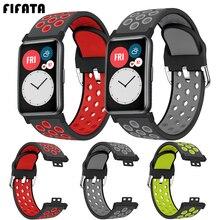 FIFATA כפול צבע רך סיליקון ספורט רצועת עבור Huawei Fit חכם שעון החלפת צמיד עבור Huawei שעון Fit להקת רצועה