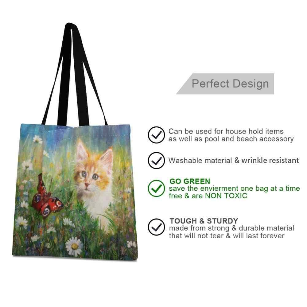 Alaza reutilizável verde shopper bolsa feminina ombro grande lona bolsa de pintura a óleo gato saco dia dos namorados casual tote algodão praia saco