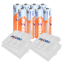 8PCS PKCELL AAA 900mWh battery 1.6V NIZN Rechargeable batteries aaa ni zn recharge with 2PC AAA/AA battery case /BOX for toys