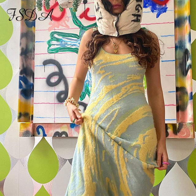 FSDA 2021 Hollow Out Y2K Knit Dress Women Bodycon Summer Backless Off Shoulder Spaghetti Strap Party Beach Sexy Dresses Green 6