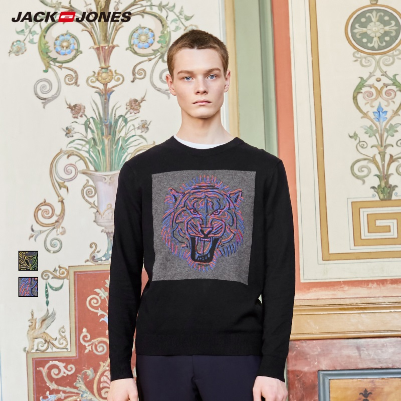 JackJones Men's Tiger Embroidery Knitwear Sweater Pullover Style Top Menswear 219324515