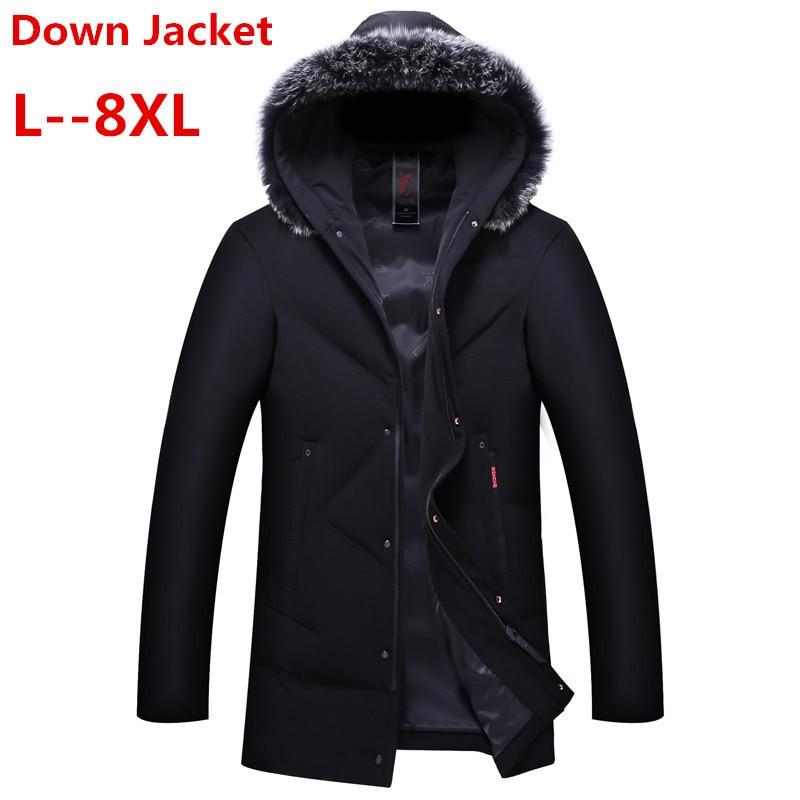 Plus 8XL 7XL 6XL 5XL  Fashion Men Down Jacket 90% Duck Down Winter Thick Long Down Brand European Size Down Jacket -30
