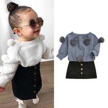 Fashion Toddler Baby Kid Girls Clothes Set Cute Pom Pom Sweaters Tops + Skirts Autumn Winter Outfits Kid Girls Costumes girls pom pom detail polka dot sweater