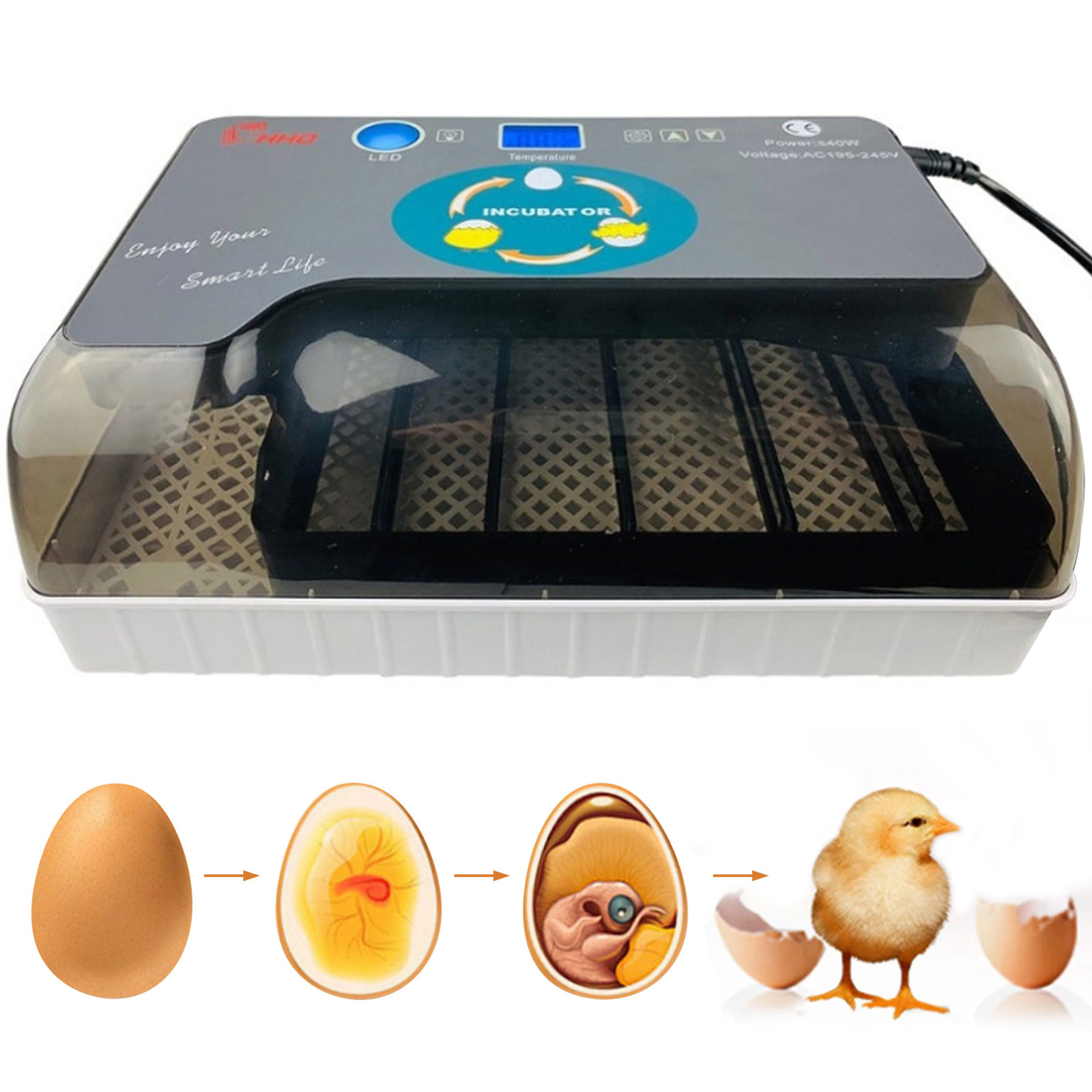 Behogar Eggs Semi-automatic Digital Incubator Brooder Machine Adjustable Temperature Poultry Hatcher for Chickens Duck Bird Eggs