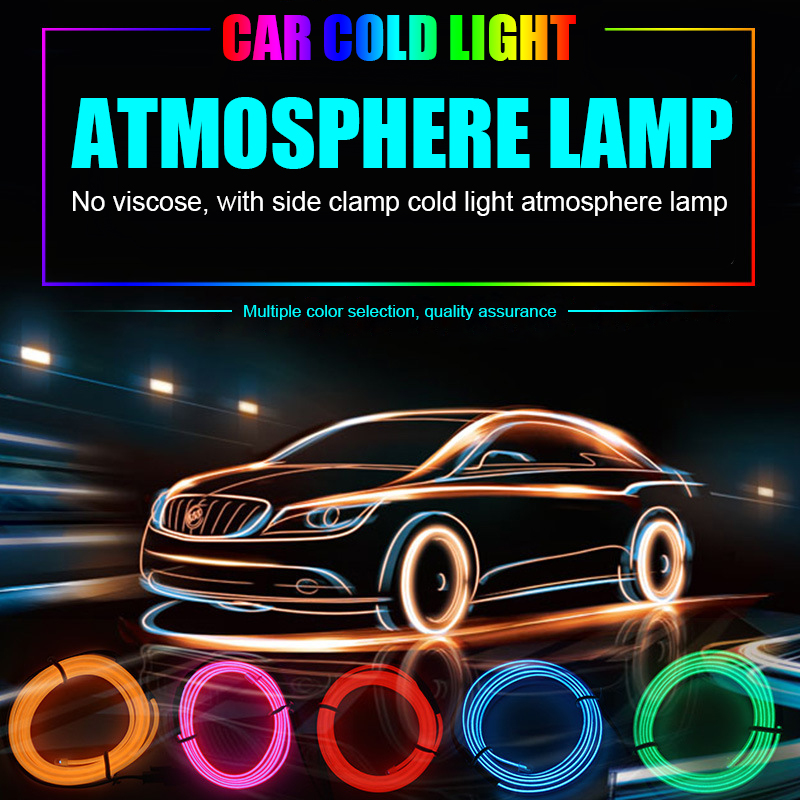 EURS 1M/2M/3M/5M EL Wire Flash Rope Tube Cable Cigarette USB LED Strip Flexible Neon Lamp Glow String Light For Car Decoration image