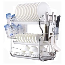 New 3 Tier Dish Drainer Rack Holder Dish Drying Rack Plate Dish Cup Cutlery Drainer Rack Plates Holder with Mug Holder and Cutle(China)