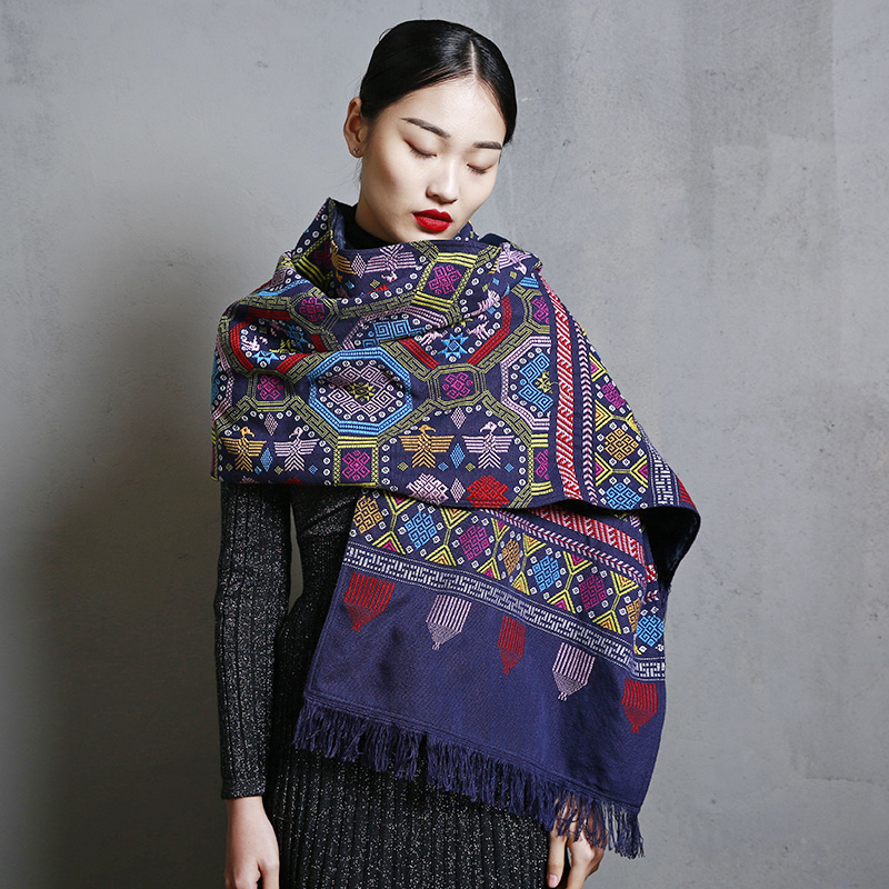 MENOGGA Brocade Scarf Women 2019 Pure Handmade Pashmina Shawls China Retro Style Big Colorful Warm Winter Scarf Unisex