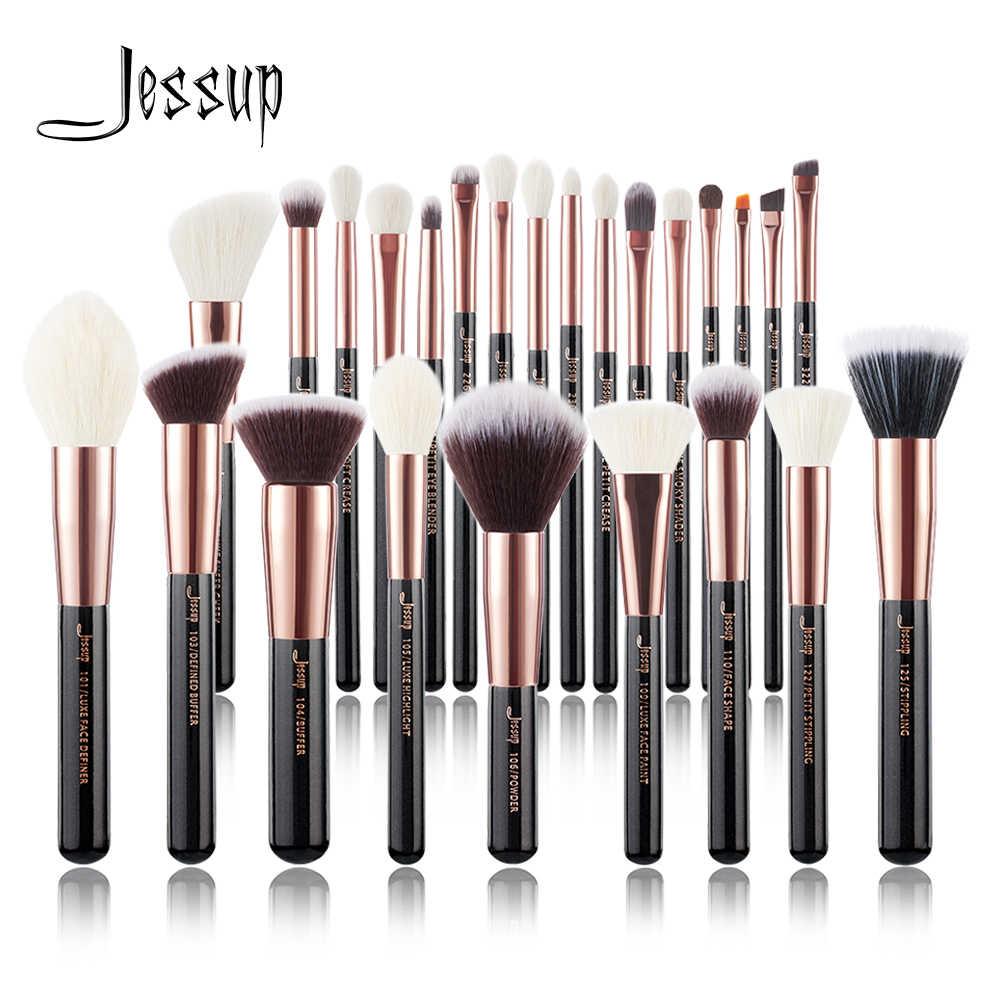 ジェサップローズゴールド/黒化粧ブラシセット美容ファンデーションパウダーメイクアップブラシ 6 個-25 個