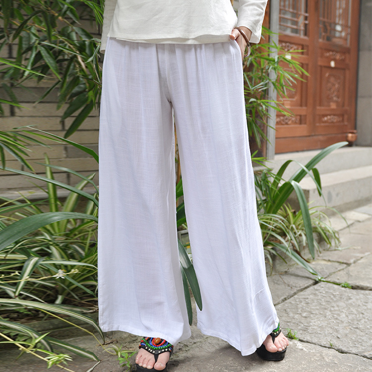 Zhang Xin Yuan Celebrity Style Chinese Clothing Collocation Loose Pants Cotton Linen Long Pants Bamboo Joint Cotton Linen Big Le