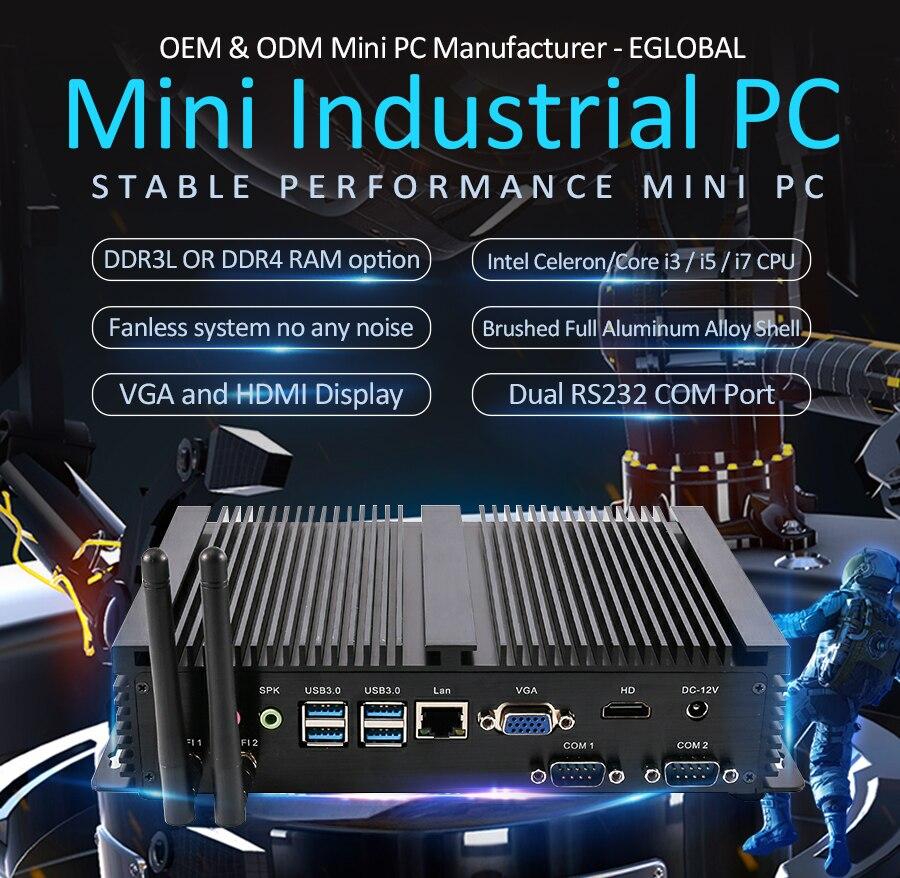 Industrial fanless mini pc i7 8565u i5 8250u i3 7100u 1 * lan 2 * rs232 windows 10 pro minipc linux desktop computador 7 * usb wifi hd
