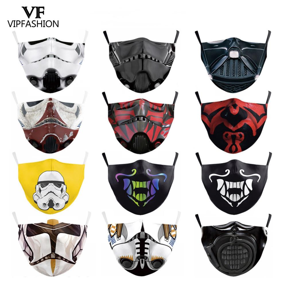VIP FASHION Protective PM2.5 Reusable Adjustable Adult Face Mask Anime Star Print Wars Washable Fabric Mask Proof Bacteria Masks