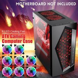 V3 ATX компьютерный игровой компьютерный блок 8 портов вентилятора USB 3,0 для M-ATX/материнская плата Mini ITX черный/белый 370x185x380 мм